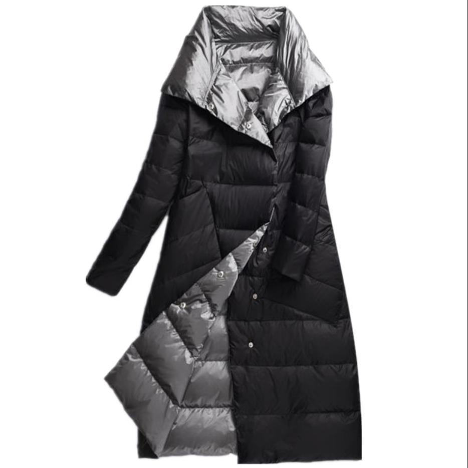 plus size 3XL!Women Double Sided   Down   Long Jacket Winter White Duck   Down     Coat   Double Breasted Warm Parkas Snow Outwear