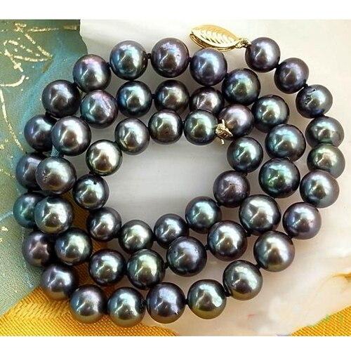 Réel D'eau Douce Collier de Perles, AAA 17 pouces 8-9mm Ronde Paon Noir Perle Bijoux, nouveau Livraison Gratuite