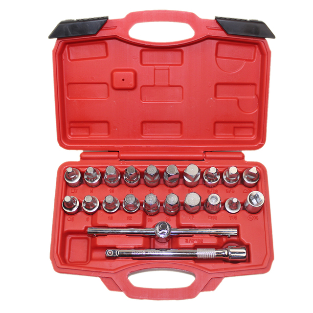 22PCS Oil Drain Plug Removal Tool Key Set Square Hexagon Socket Kit Nut Adaptor Tool With Extension Bar