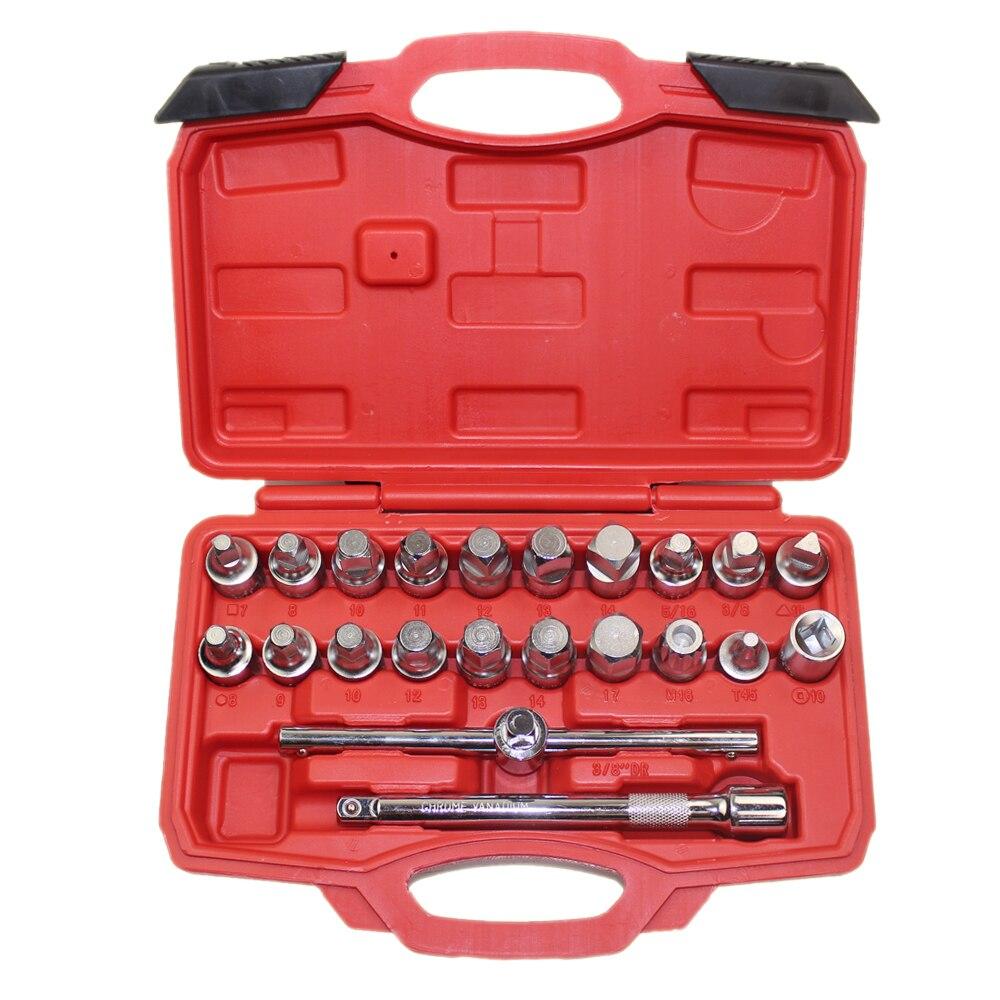 22 pièces outil de retrait de bouchon de vidange d'huile ensemble de clé carré six pans creux Kit adaptateur écrou outil avec barre d'extension