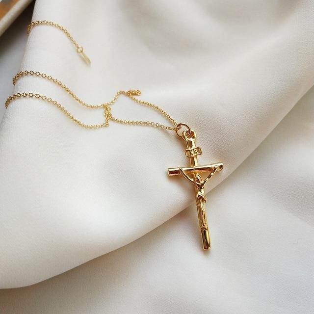 Cross 925 sterling silver necklace pendants simple fine fashion design wild neck
