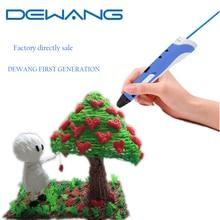 HOT selling Free Shipping DEWANG YY BLACK 3d art magic print pen for kids Present AU/US/UK/EU plug With 20color 10mPLA Filament  цены