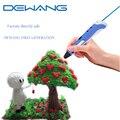 Dewang 3d pluma mágica para los niños presentes au/ee.uu./reino unido/ue plug + 200 metros de 20 colores filamento del pla de kid regalo 3d plumas