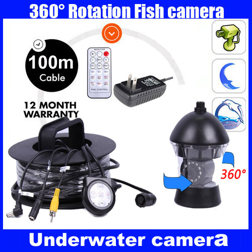1/3 SONY CCD 600TVL CCTV Underwater <font><b>Fishing</b></font> <font><b>Camera</b></font> Fish Finder <font><b>100M</b></font> Cable Rotate 360 Degree Remote Control with Power supply