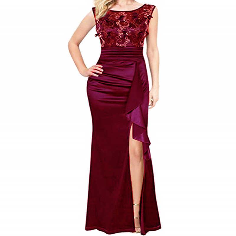 ALABIFU летнее женское платье 2019 сексуальное открытое кружевное платье с разрезом элегантные длинные вечерние платья с вышивкой Черное макси vestidos 2XL