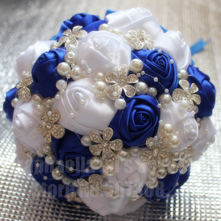 Compare Prices On Bridesmaid Flower Bouquet Royal Blue Online Silk Wedding Silver Glitter White Crystals