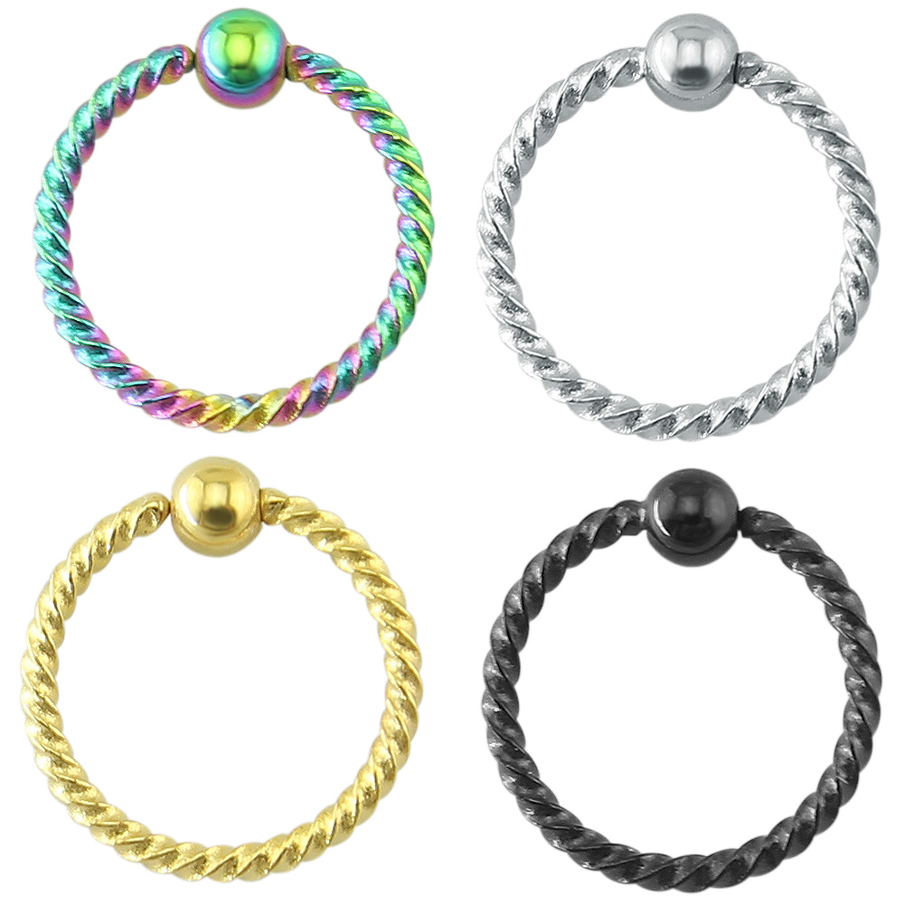 simple trendy spiralled steel captive bead nose ring