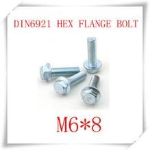 100 UNIDS M6 * 8 DIN6921 Pernos Hexagonales Con Brida De Acero Al Carbono Con El Cinc