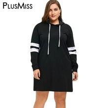 bac566e03 PlusMiss 5XL Plus Size Moletom Com Capuz Listrada Mini Vestido Curto  Mulheres Outono Inverno Vestido de Manga Longa Tamanho Gran.