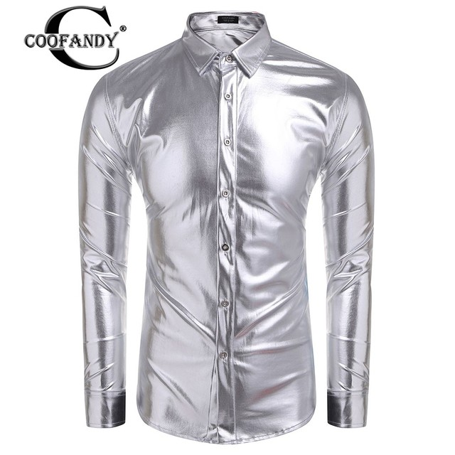 Fraîche Discothèque Chemise Down Manches Coofandy Col Hommes Turn YxSwaqEO