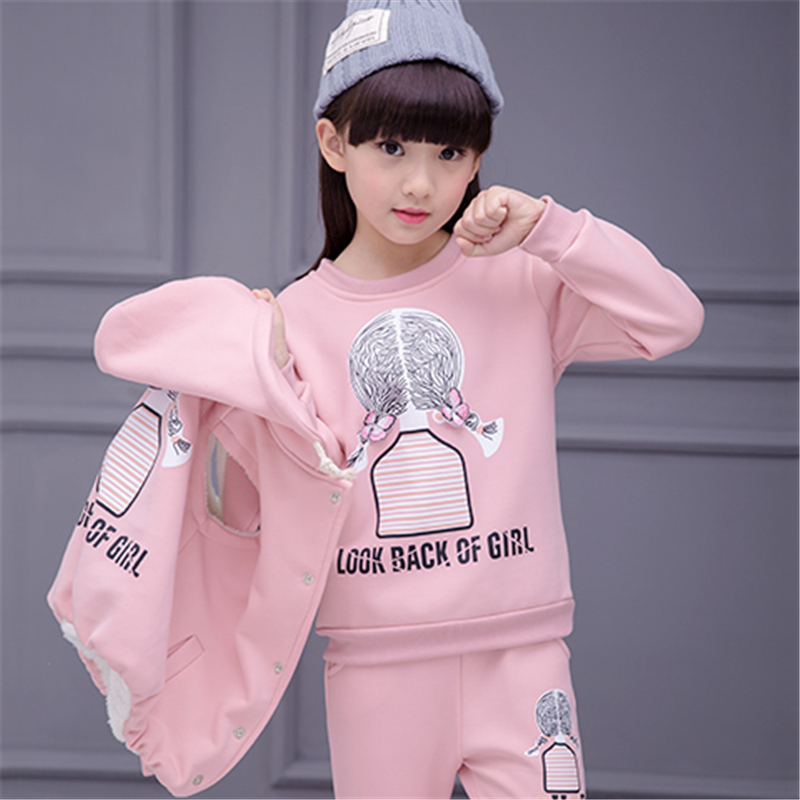 2018 fashion Winter new high quality Girl children's clothing set Three-piece set Winter sports Winter warmth For girls suit children s clothing spring high quality cowboy three piece suit of the girls flowers fashion baby suit denim set for infants