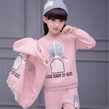 8adbcd903327c 2019 moda Kış yeni yüksek kaliteli Kız çocuk giyim set Üç parça set Kış  spor Kış sıcaklık Için kız takım elbise