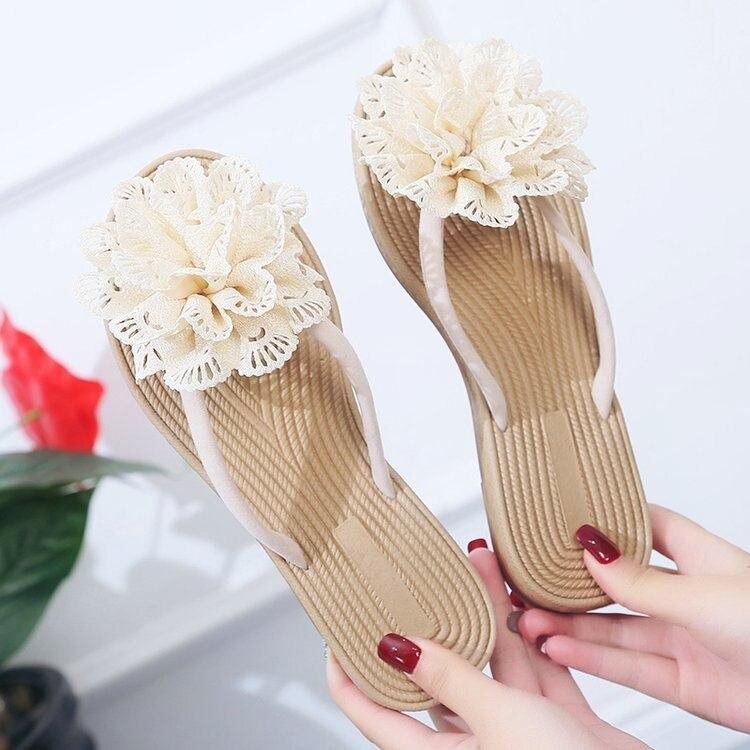 2019 Frauen Hausschuhe Sommer Strand Casual Schuhe Mode Roma Blume Flache Anti-slip Slipper Strand Flip-flops Outdoor Walking Gut FüR Antipyretika Und Hals-Schnuller