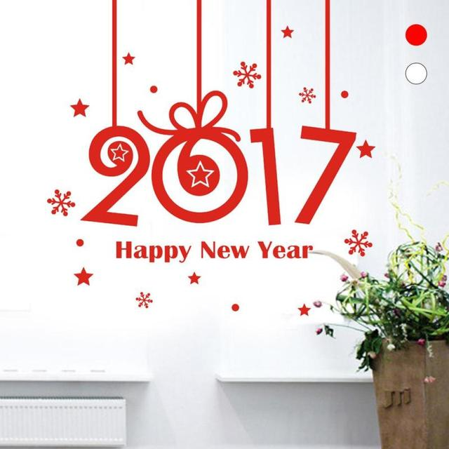 2017 С Новым Годом наклейки стикер стены съемный декор окна рождественские украшения для дома рождество F2