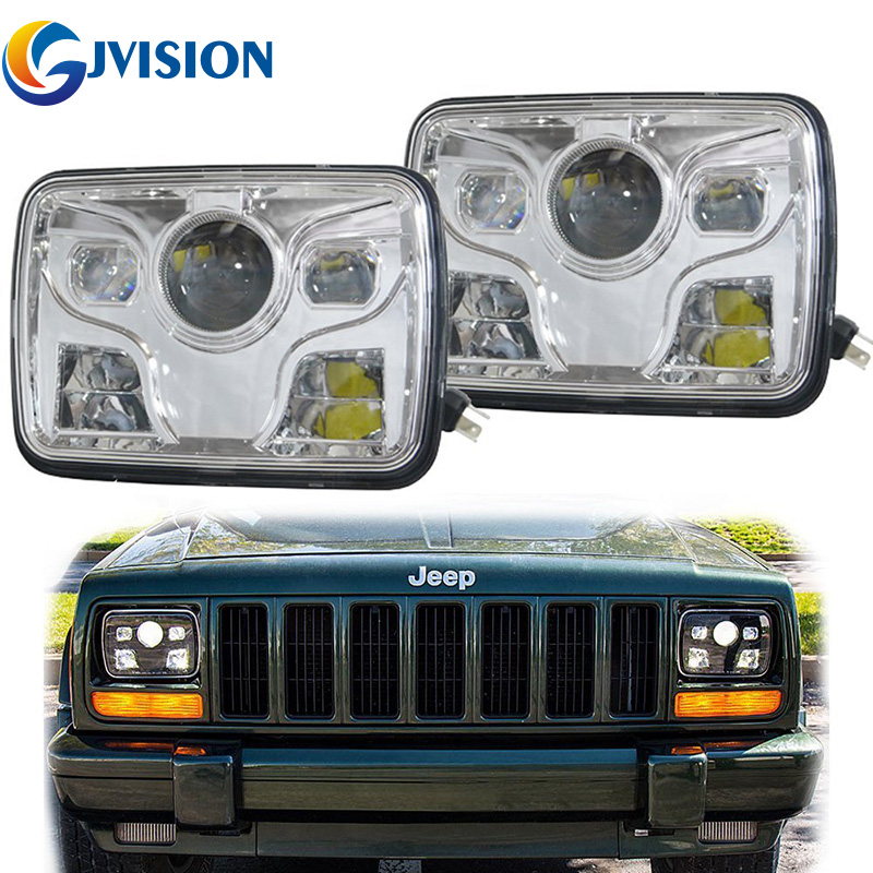 DOT Square 5x7 INCH LED Headlight Daymaker Sealed Beam Replacement Truck Light For Jeep Cherokee XJ High /Low Beam Headlamp