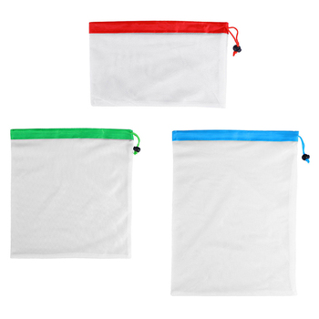 3 Sizes Reusable Mesh Produce Bag Washable Eco-Friendly Bags for Grocery Shopping Storage Fruit Vegetable Organizer Pouch