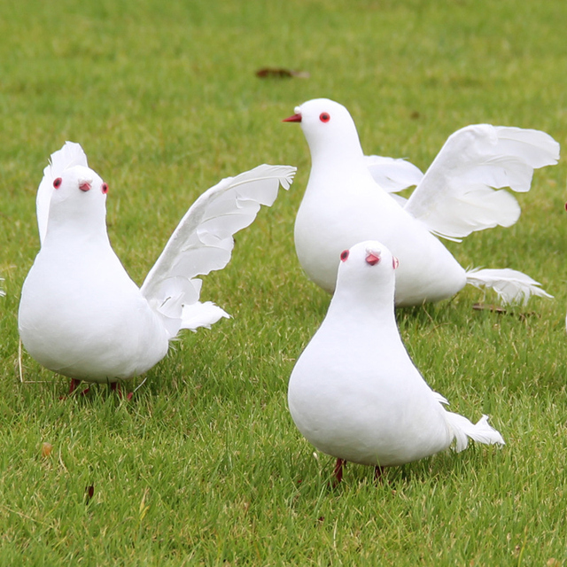 1PC White Pigeon Bird Decorative Simulation Dove Artificial Foam Feather Wedding Ornament Home Party Wedding Decoration A