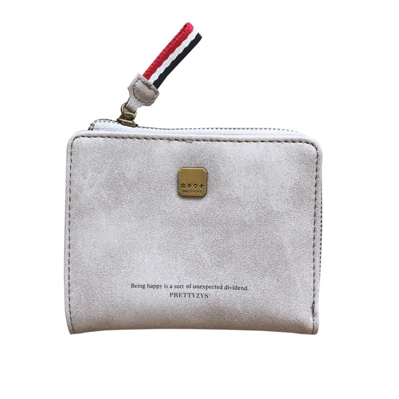 2018 Women Short Carteira Feminina Minimalist Zipper Hasp Mini Women Wallet Fold PU Leather Ribbons Coin Pocket Ins StyleTL0617