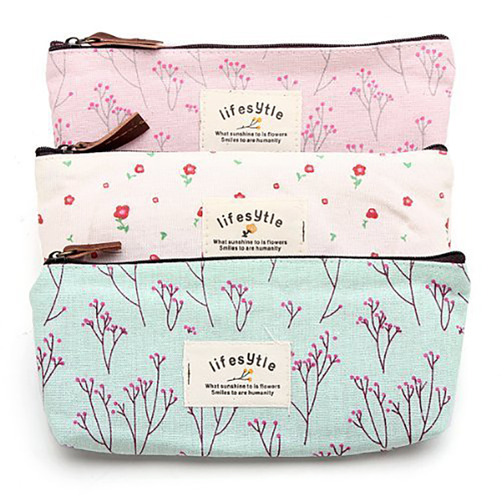 New Stationery Pencil Pen Case Canvas Print Cosmetic Makeup Bag Zipper Pouch Case Makeup bag Travel Neceser bag organizer-15 big capacity high quality canvas shark double layers pen pencil holder makeup case bag for school student with combination coded lock