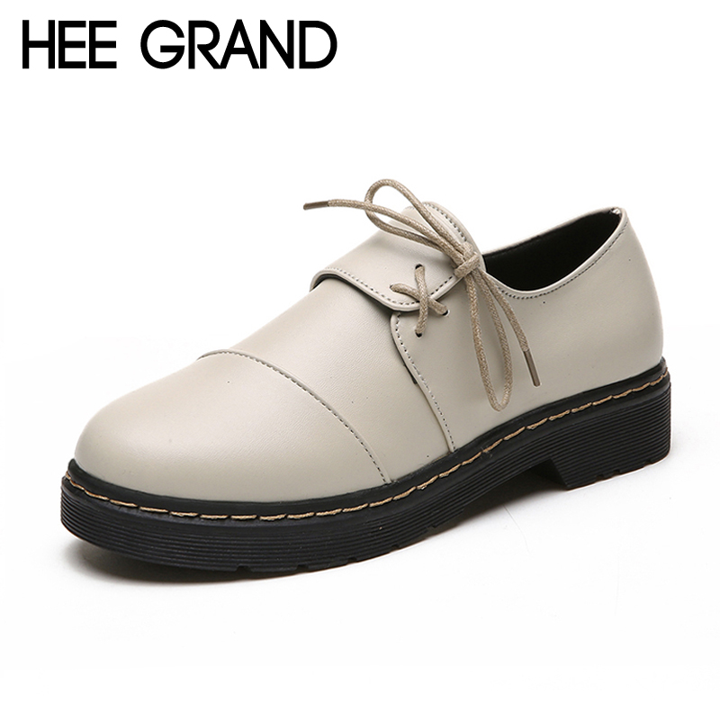 HEE GRAND Vintage 2018 Brogue Shoes Lace-Up Platform Oxfords Shoes Woman Casual PU Patent Leather Creepers Fashion Flats XWD6300 hee grand lace up gladiator sandals 2017 summer platform flats shoes woman casual creepers fashion beach women shoes xwz4085