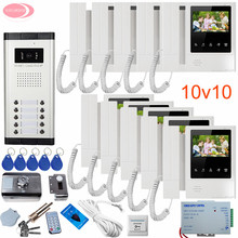 "10 Units 4.3"" Intercom Video Intercoms Rfid Unlock Electronic Lock Doorbell Security Camera Intercom System Video Intercom Kit"
