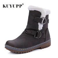 34 43 Vintage Style Leather Women Boots Flat Booties Short Plush Women S Shoes Buckle Wedge