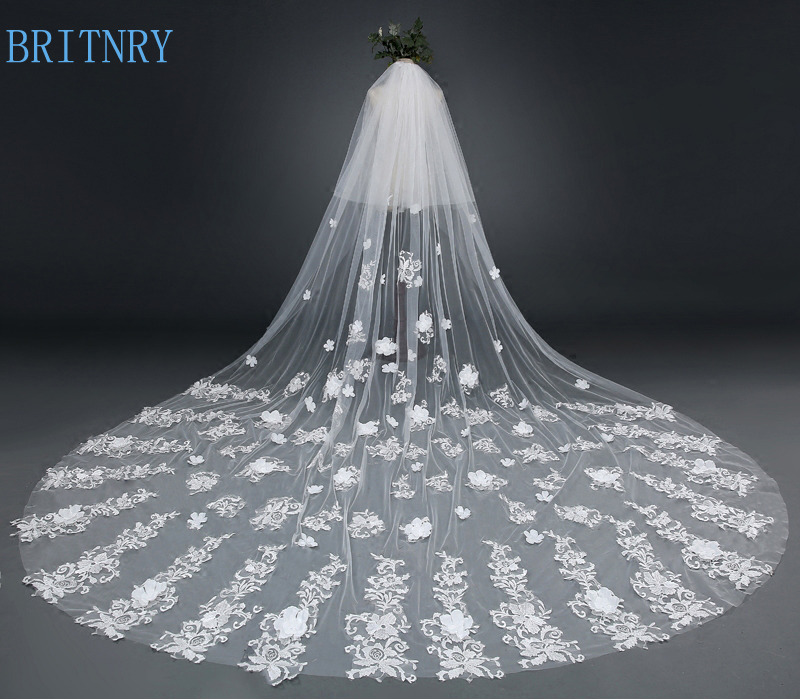 BRITNRY New Arrivals Cathedral Wedding Veil with Comb Ivory Lace Appliques Bridal Veil Two Layer Long Veil Wedding Accessories