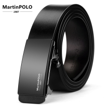 MartinPOLO Automatic Business Mens  Belts Cowhide Strap For Male Alloy Buckle Men Genuine Leather Belt Toothless MP01101P