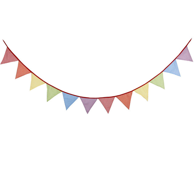 Lattice Style 12 Flags 3.3m Multi Color Cotton Fabric Bunting Pennant Flags  Banner Garland Wedding Party Decorative Crafts 4b530a72db99