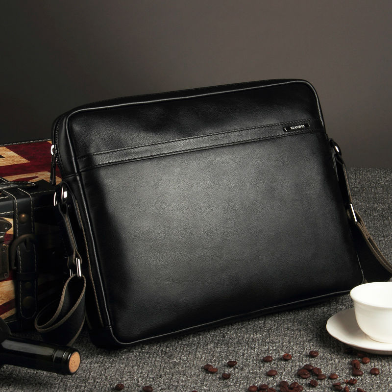 XuanWei Good Quality Simple Design Black Men Satchels Genuine Cow Leather Business Messenger Bags with free keyrings (XW-7005)