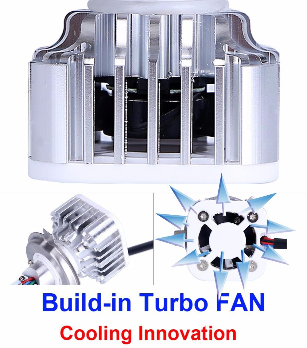 Bombillas de faros de motocicleta LED H4 Impermeable Turbo ventilador - Luces del coche - foto 5