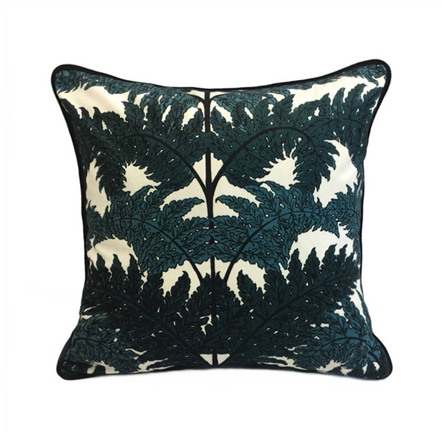 Contemporary Fashion Tree Leaves Dark Green Digital Print Polyester Adorable Dark Green Decorative Pillows