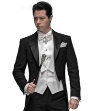 New Style Black Tailcoat Groom Tuxedos Groomsmen Men's Wedding Prom Suits Custom Made (Jacket+Pants+Vest+Tie)(China)