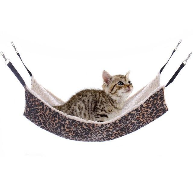 Cat Bed Leopard Winter Warm Soft Pet Cat Puppy Fur Hanging Beds Pets Kitten Ferret Hammocks House Rest 1pcs