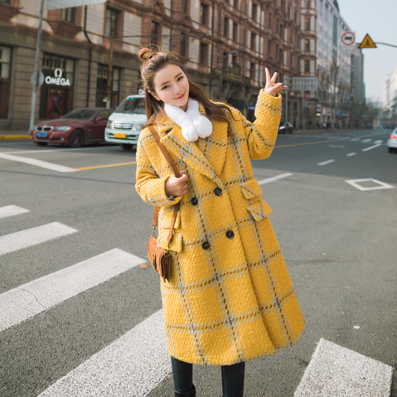 The new school style 2017 winter wind double Plaid Wool Coat women Korean loose leisure in the long woolen coat
