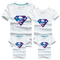2017 summer style clothing camiseta superman algodón sudadera familia coincidencia de padre e hijo madre e hija de ropa trajes