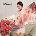 Venda inverno Camadas Duplas Longo Foulard De Seda Da Marca de Luxo 180*55 cm Moda Rose Impresso Tamanho Grande Xales Cachecóis mulheres 2016 Tn7