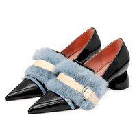 Spring new thick heel women's shoes Pointed big size high heels female Fashionable feather shoes Heels women pumps