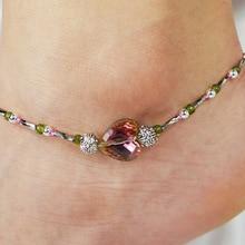 Trendy Crystal Love Heart Alloy Geometric Anklets Elegant Beads Footchain Ankle Bracelets for Women bijoux 2019