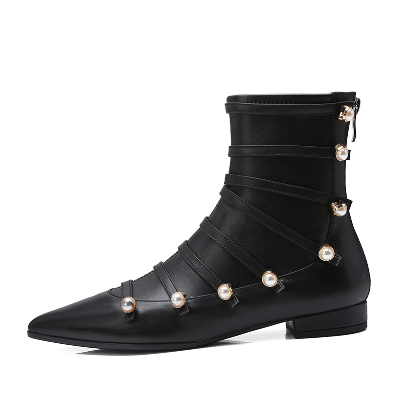 donna pelle con piatte Black da scarponcino in New vera 2018 Wetkiss con Stivaletti scarpe Strap da a punta punta donna Autunno waq7Y4X