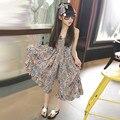 Девушки одежда наборы Детская одежда Лето 2016 Девушки Регулируемый комбинезоны Вискоза Ropa mujer Праздник печатных широкий ногами комбинезон