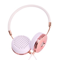 Blanou New Wired Foldable Stereo Headphones with Microphone for Music On Ear Headband Rose Gold Headset w/ Storage Bag BH870