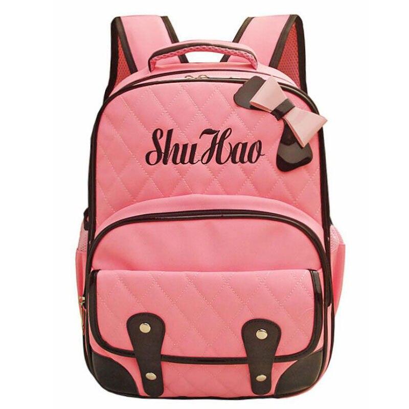 ФОТО 2016 New Pink Nylon Orthopedic BOW Backpack Air Cushion Brethable School Bag for Children Cute Girl's Travble Bag Mochila