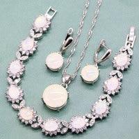 Excellent Round White Australian Fire Opal 925 Sterling Silver Jewelry Sets For Women Pendant Dangle Earrings With Opal Bracelet