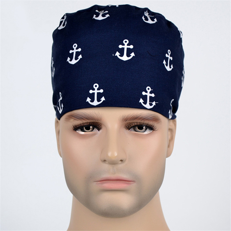 Deep Navy Anchor Print Surgical Scrub Caps Men Medical Surgeon Work Hats Tieback Skull Adjustable Hat 100% Cotton Nurse Cap
