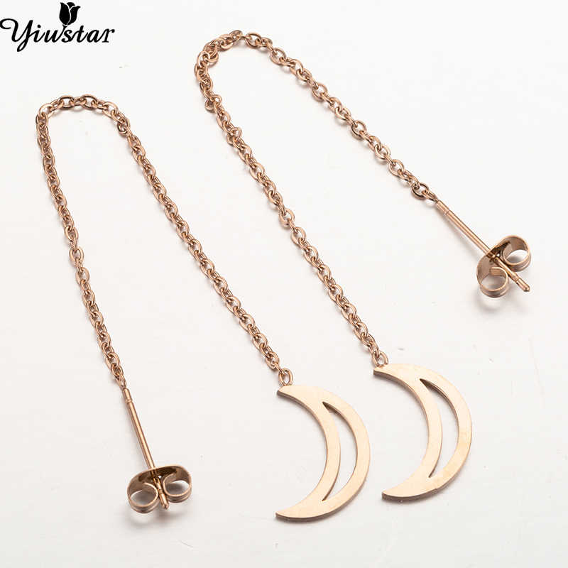 Yiustar Rose Color Stainless Steel Moon Drop Earrings Cute Elegant Long Chain Ear Women Jewelry 2019 Fashion Brincos Accessories