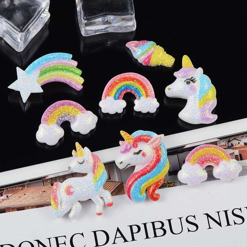 5000Pcs Flat Back Resin Cabochon Glitter Unicorn Rainbow Resin Cabochons Flatback DIY Hair Bow Decoration Embellishment