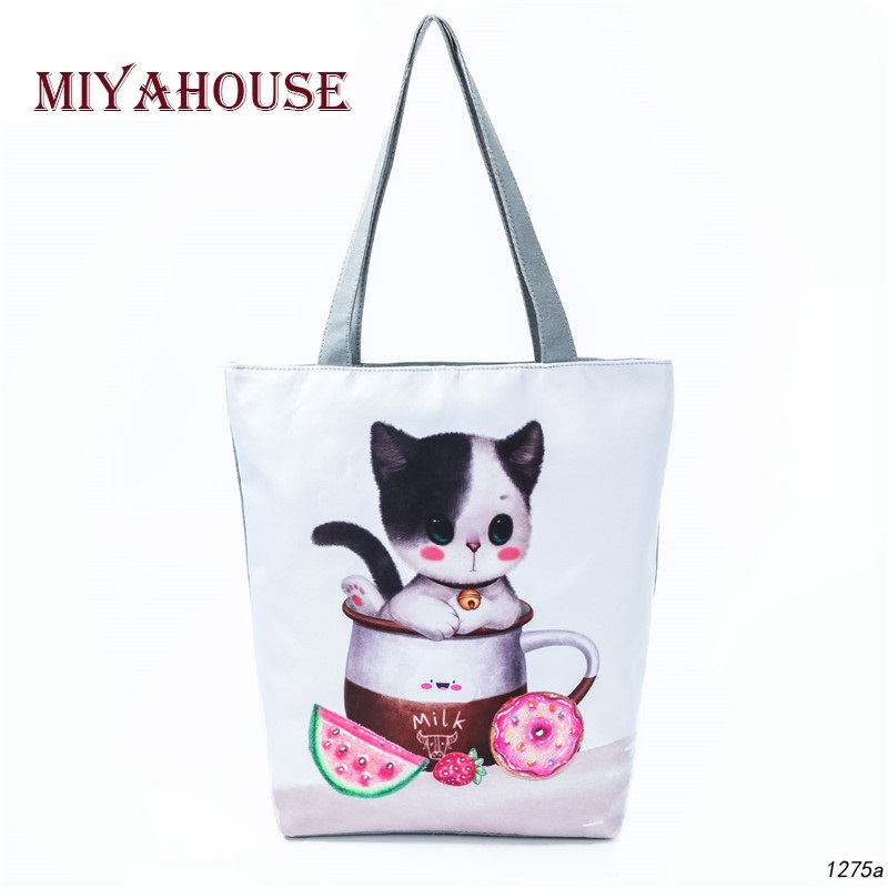 Cute Cat Printed Shoulder Bag Women Casual Cartoon Animal Design Canvas Tote Handbag Female Summer Beach Bag Girls