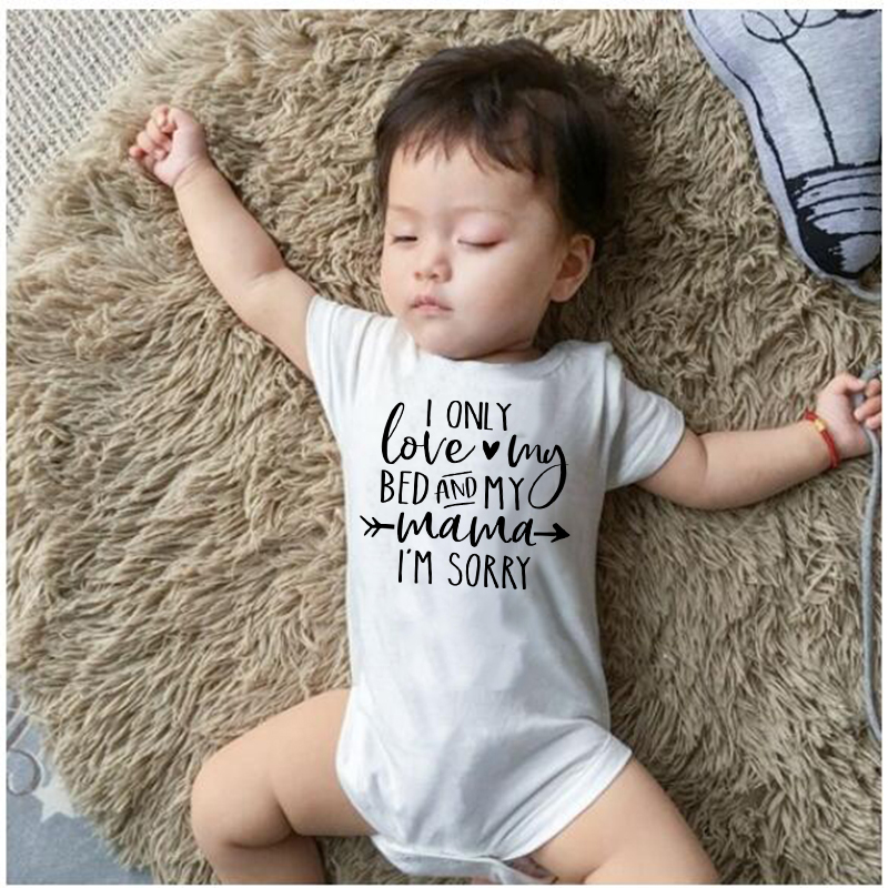 I only love my bed and my mama Newborn Infant clothing baby   romper   Baby Letter Print Outfits   Romper   Jumpsuit baby clothes 0-24M