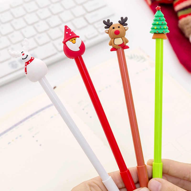 1 Pcs Lucu Kartun Natal Seri atau Netral Mengenai Saham Pena Kreatif Siswa Pena Hitam Pena untuk Natal Gel Pena Lucu Stasioner Grosir